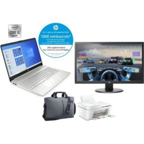 "Pack PC Portable 15.6"" HP 15S-FQ1036NF + Écran HP 24o + Imprimante + Sacoche"
